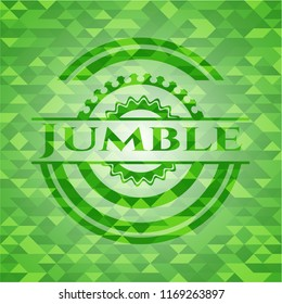 Jumble green emblem with mosaic background