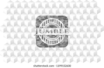 Jumble grey badge with geometric cube white background