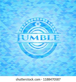 Jumble light blue emblem with mosaic background