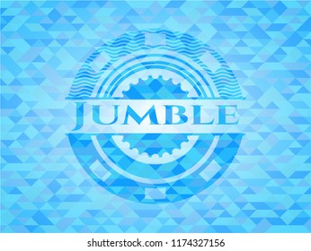 Jumble light blue emblem with triangle mosaic background