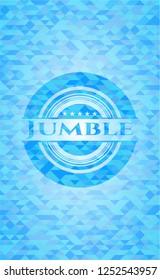 Jumble light blue emblem with triangle mosaic background