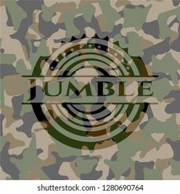 Jumble on camouflage pattern