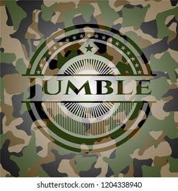 Jumble on camouflaged pattern