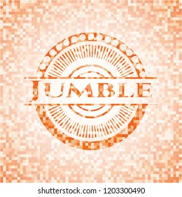 Jumble orange mosaic emblem with background