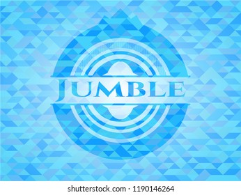 Jumble realistic light blue mosaic emblem