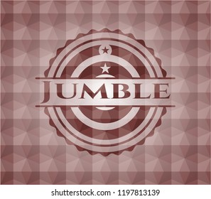 Jumble red emblem with geometric background. Seamless.
