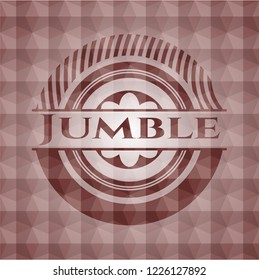 Jumble red seamless emblem or badge with geometric pattern background.