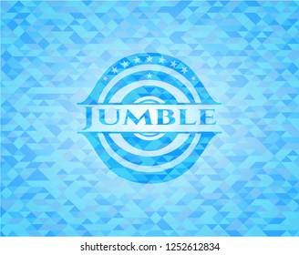 Jumble sky blue emblem. Mosaic background