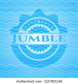 Jumble sky blue water wave badge background.