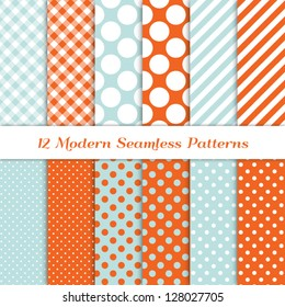 Jumbo Polka Dot, Gingham and Diagonal Candy Stripes Patterns in Aqua Blue, Coral Orange and White. Pattern Swatches with Global Colors. Matches my other pattern packs Image ID: 121349323.