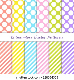 Jumbo Polka Dot and Stripes Patterns in 6 Easter colors: coral, yellow, pink, blue, grass green and purple / violet. Pattern Swatches with Global Colors - easy to change all patterns in one click.