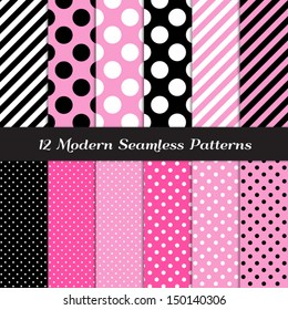 Jumbo Polka Dots Small And Diagonal Stripes Patterns In Pink Black