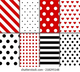 Jumbo and Small Polka Dot and Diagonal Stripes Patterns in Red, Black and White color. Pattern Swatches made with Global Colors. Dots, squares, lines and hearts design, Vector background, eps10