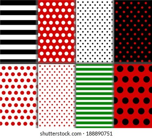 Jumbo and Small Polka Dots and Diagonal Stripes Patterns in Red, Black, White and Deep Green. vector art image illustration