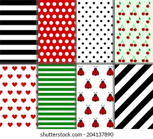 Jumbo and Small Polka Dots and Diagonal Stripe Patterns in Red, Black, White and Deep Green. vector art image illustration
