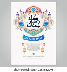 Jumma Mubarak Poster Template with Arabic calligraphy elements (translation: blessed friday). - Vector