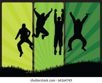jump boys on grass