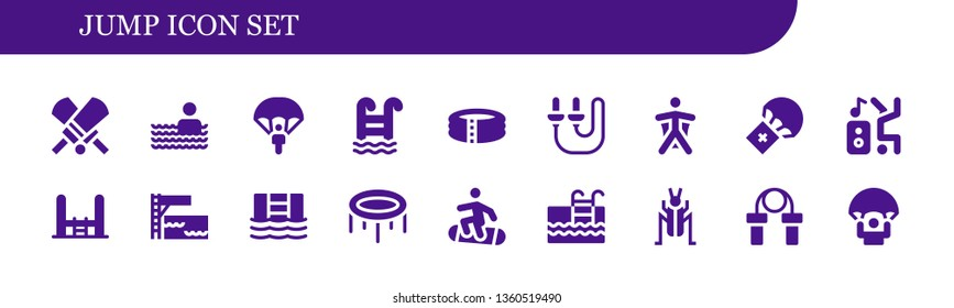 jump icon set. 18 filled jump icons.  Simple modern icons about  - Cricket, Swimming pool, Parachute, Pool, Skip rope, Wingsuit, Dancer, Trampoline, Snowboard, Jumping rope