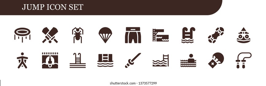 jump icon set. 18 filled jump icons.  Simple modern icons about  - Trampoline, Cricket, Parachute, Boxing shorts, Swimming pool, Snowboard, Toad, Wingsuit, Bungee jumping, Katana