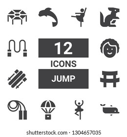 jump icon set. Collection of 12 filled jump icons included Dolphin, Dancer, Parachute, Jumping rope, Katana, Skii, Kangaroo, Skipping rope, Trampoline, Ballerina