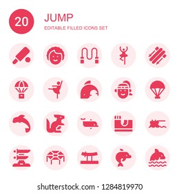 jump icon set. Collection of 20 filled jump icons included Cricket, Dancer, Skipping rope, Skii, Parachute, Ballerina, Dolphin, Athlete, Kangaroo, Skate park, Trampoline, Katana