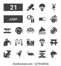 jump icon set. Collection of 21 filled jump icons included Dolphin, Katana, Ballerina, Kangaroo, Parachute, Skate park, Skipping rope, Skii, Trampoline, Dancer, Athlete, Jumping rope