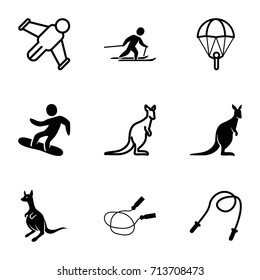 Jump icons set. set of 9 jump filled and outline icons such as kangaroo, jump rope, skiing, snowboard, cangaroo, hang glider, skipping rope