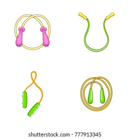 Jump rope icon set. Cartoon set of jump rope vector icons for web design isolated on white background