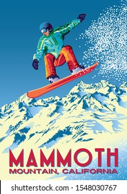 The jump of the snowboarder from the side of a mountain in the Mammoth Mountain, California. Handmade drawing vector illustration. Retro poster.