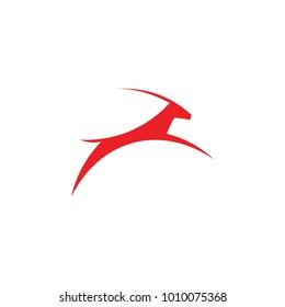 jumping antelope logo vector