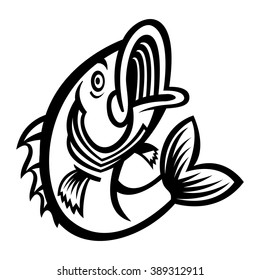 Jumping Bass Fish vector icon