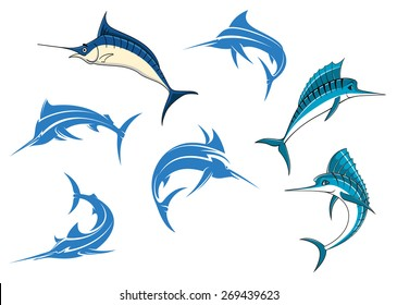 Jumping blue marlins or swordfishes with long thin noses and big dorsal fins isolated on white background for sporting fishing logo or emblems design