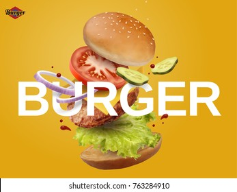 Jumping Burger ads, delicious and attractive hamburger with refreshing ingredients in 3d illustration on chrome yellow background