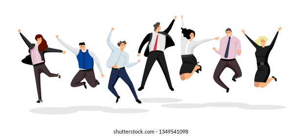 Jumping business people. Large group of jumping business people vector isolated on white background.