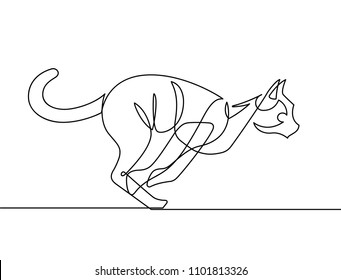 Jumping Cat Continuous Line Vector