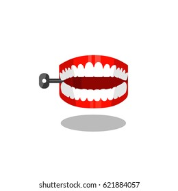 Jumping chattering teeth practical joke item.