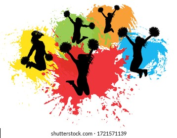 Jumping cheerleaders with pompoms on background of colorful splash (blots), silhouettes. Vector illustration