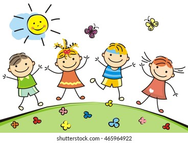 jumping children, vector illustration