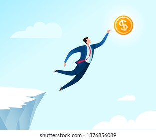 Jumping from the cliff to reach business success. Business concept illustration.