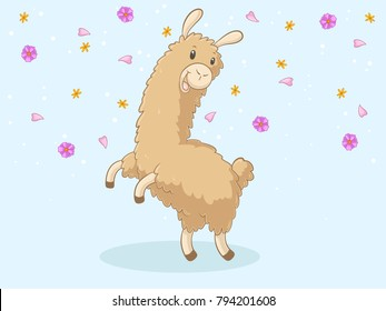 Jumping Comic Alpaca with flowers