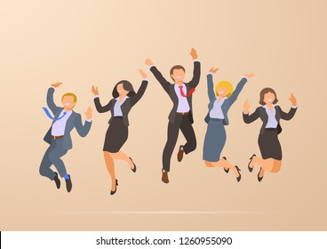 Jumping Dancing Happy Successful Business Office People Corporate Party flat vector illustration.