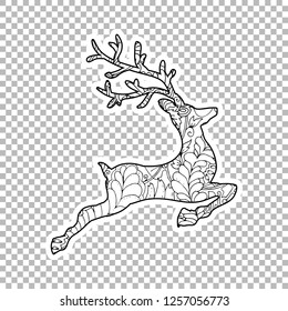 Jumping Deer Sticker vector linear illustration. Winter hand drawn clipart. Black and white sticker on transparent background. Christmas, New Year decoration. Coloring book isolated design element