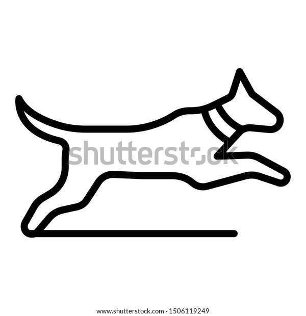 Jumping dog icon. Outline jumping dog vector icon for web design isolated on white background