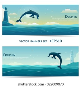 Jumping dolphin, blue sea background with waves and lighthouse. Vector banners