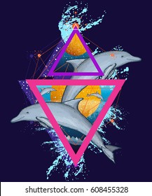 Jumping dolphins surreal color t-shirt design, geometric art,  80s style. Three dolphins jumping over the waves