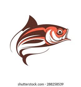 jumping fish logo template vector illustration