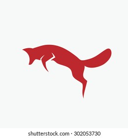 Jumping fox symbol - vector illustration