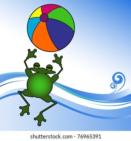 Jumping frog with beach ball at the water