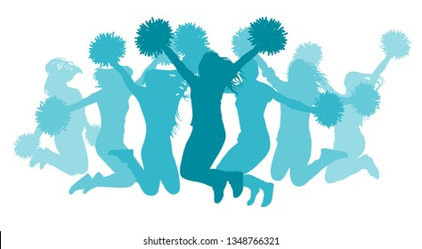 Jumping girls(cheerleaders) silhouette, isolated. Vector illustration.