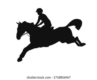 Jumping horse and athlete on a white background
